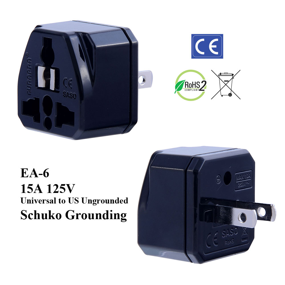 hight resolution of ea 6 black ungrounded us plug adapter