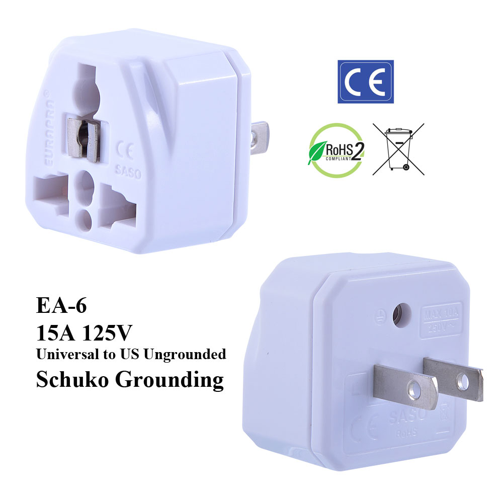 hight resolution of ea 6 white ungrounded us plug adapter