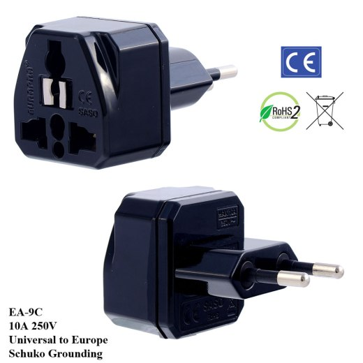 EA-9C_Black, Euro Plug Adapter with Schuko Ground