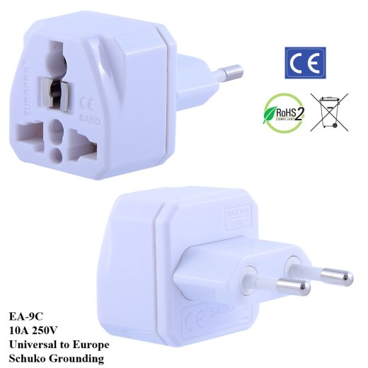 EA-9C_White, Euro Plug Adapter with Schuko Ground