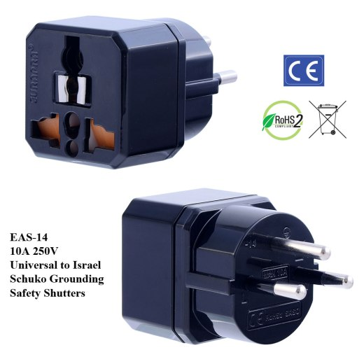 EAS-14_Black, Israel Plug Adapter w Schuko Ground & Safety Shutters