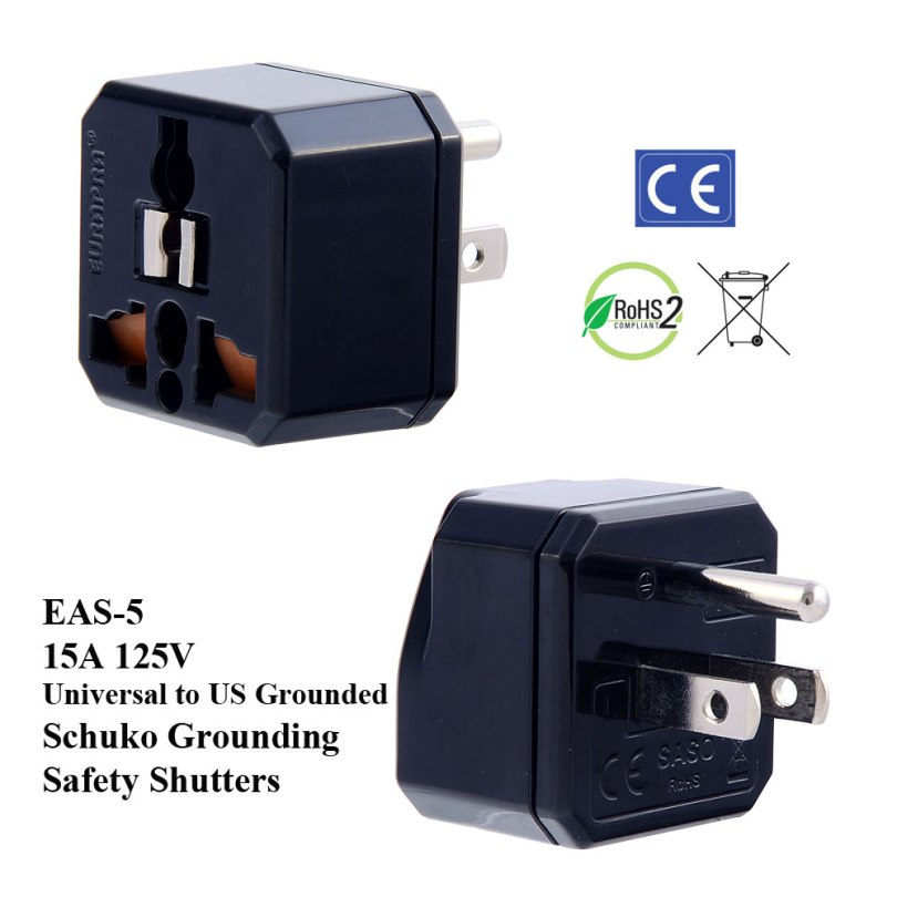 EAS-5_Black, US Plug Adapter w Schuko Ground & Safety Shutters