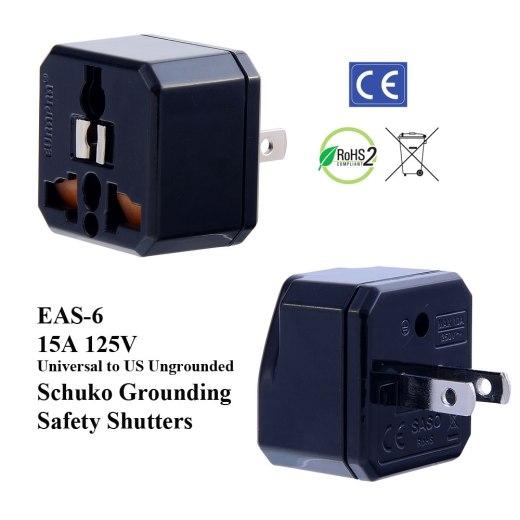 EAS-6_Black, US Plug Adapter w Schuko Ground & Safety Shutters
