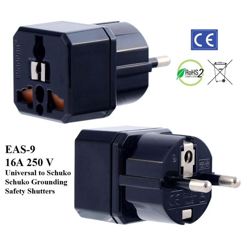 EAS-9_Black, German Fr Plug Adapter w Schuko Ground & Safety Shutters