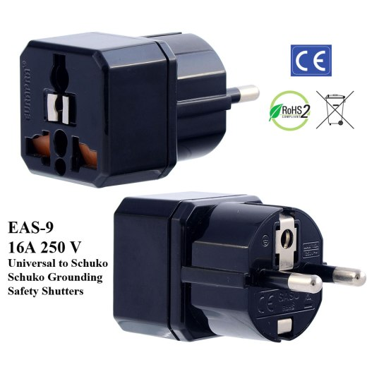 EAS-9_Black, German Fr Plug Adapter w Schuko Ground & Safety Shutters