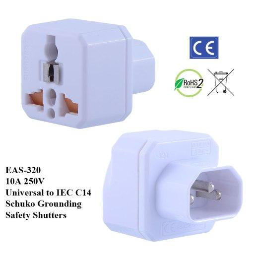 TruAmp WonPro II IEC C14 Plug Adapter w Safety Shutters, Schuko Ground