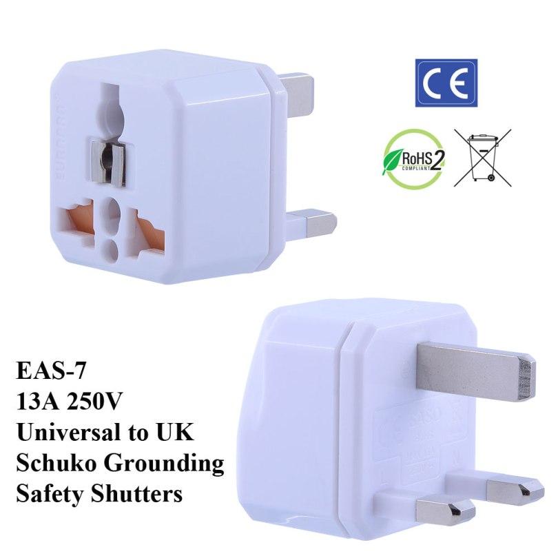 TruAmp WonPro II UK Plug Adapter w Safety Shutters, Schuko Ground