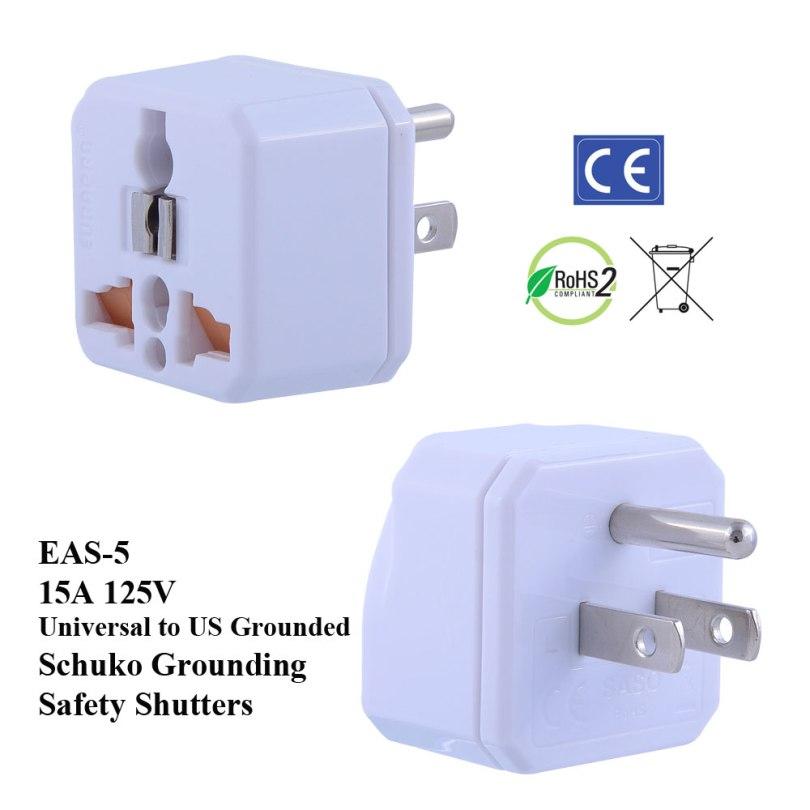 TruAmp WonPro II US 125V 15A Plug Adapter w Safety Shutters, Schuko Ground