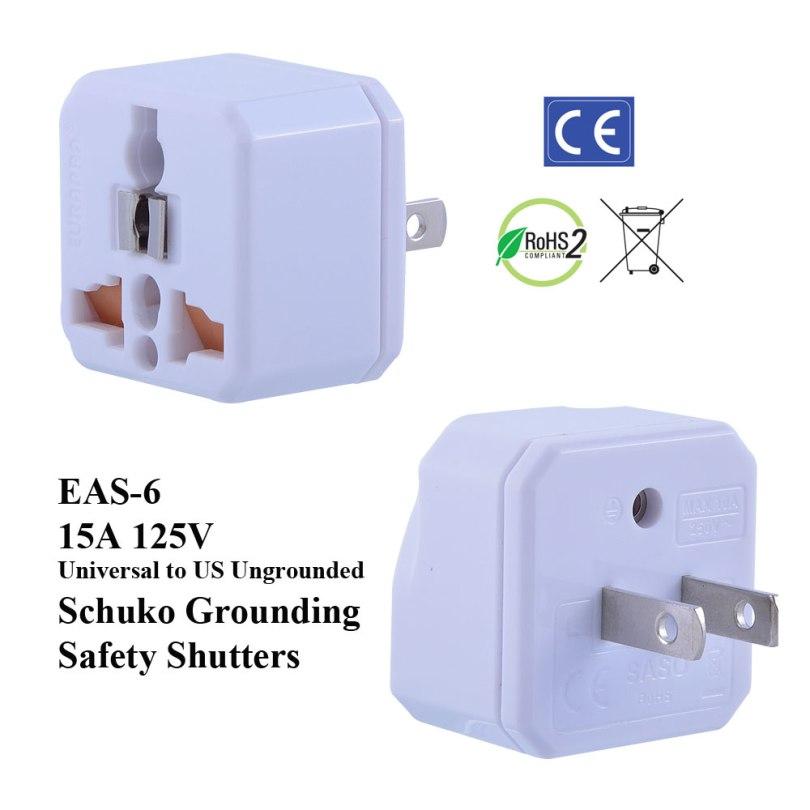 TruAmp WonPro II US Ungrounded Plug Adapter w Safety Shutters, Schuko Ground