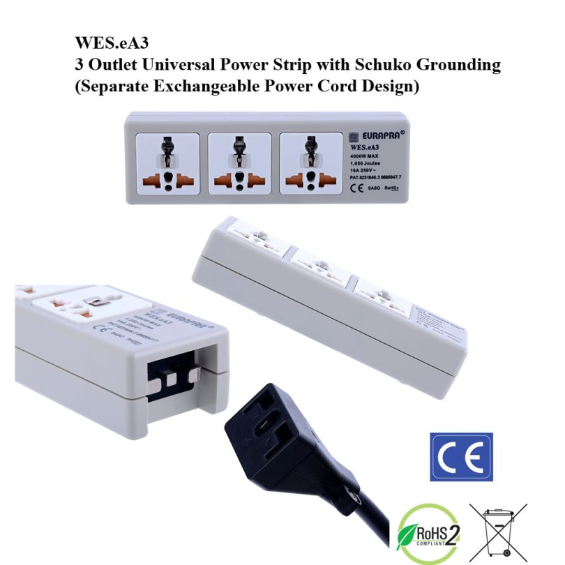 eA3, 4th Gen WonPro II 3-Outlet Univ. Power Strip with Schuko Ground