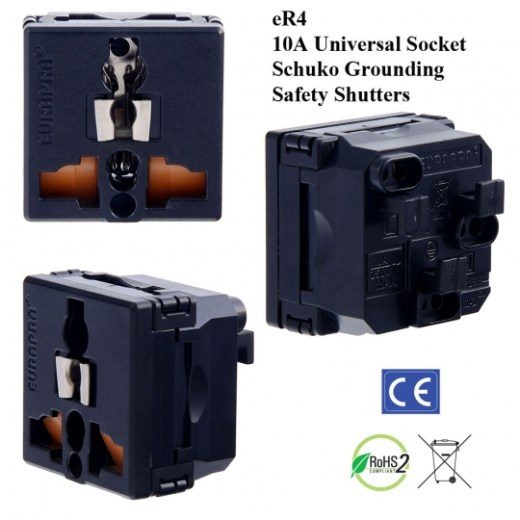 eR4_black, Universal Outlet with Schuko Ground and Safety Shutters