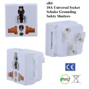eR4_white, Universal Outlet with Schuko Ground and Safety Shutters