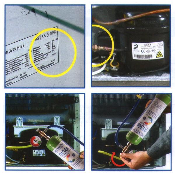 R134a R134 refrigerant gas refrigerator recharge kit 1 Kg