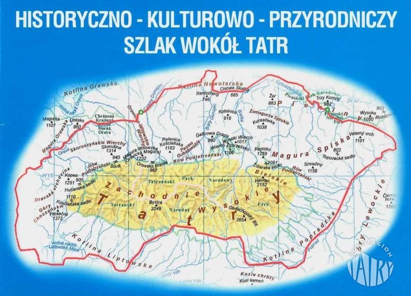 Znalezione obrazy dla zapytania szlak wokół tatr mapa
