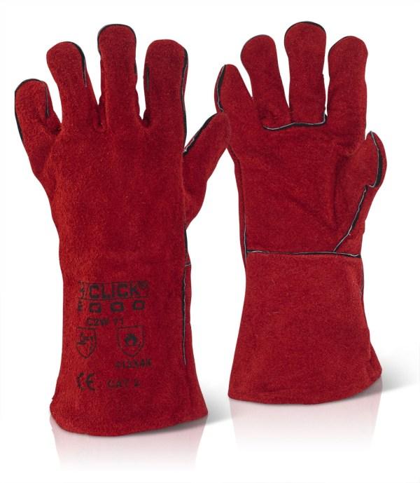 Red welding gauntlets