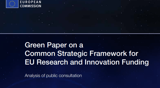 EU Green Paper on a Common Strategic Framework for Research and Innovation