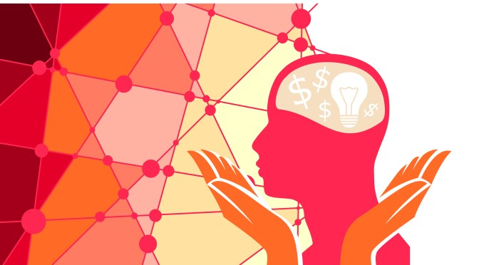 Values of biomedical innovation: a pink silhouette of a human profile. hold by two hands on a background that represents a network. Inside the brain we can see a light bulb and dollars.