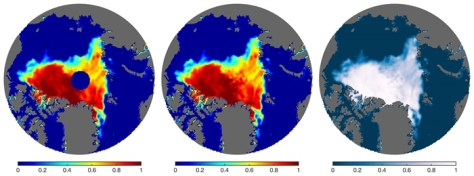 The left image is an example of the polar data gap (dark blue disc) on August 30, 2007, with shading outside the disc indicating concentration. The middle and right images show the data fill presented here; the color shading at right is similar to that used by the National Snow and Ice Data Center (http://nsidc.org).