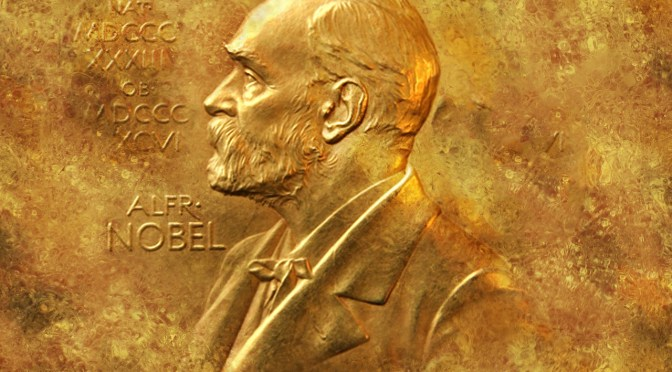Nobel Prizes: A golden plate with the profile of Alfred Nobel