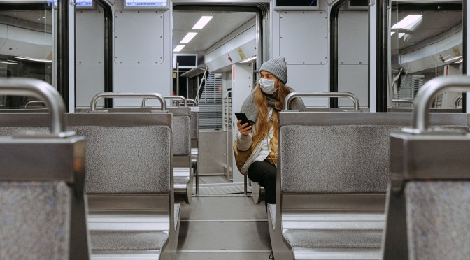 Image Source: Pexels https://www.pexels.com/photo/woman-wearing-mask-on-train-3962264/