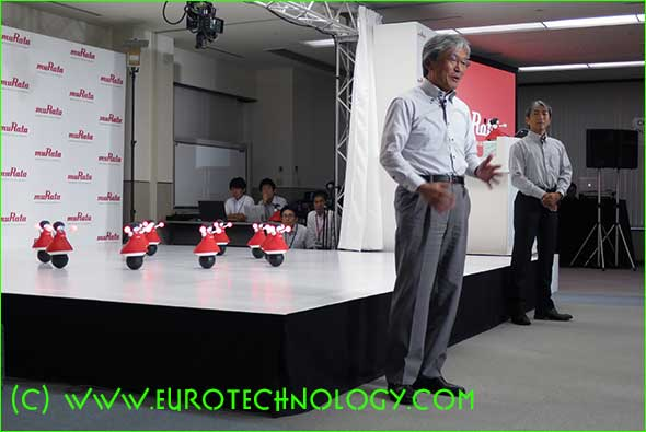 Yuichi Kojima, Senior Vice-President and Deputy Director of Technology and Business Development Unit, and Koichi Yoshikawa, Senior Manager, Corporate Communications present the robots