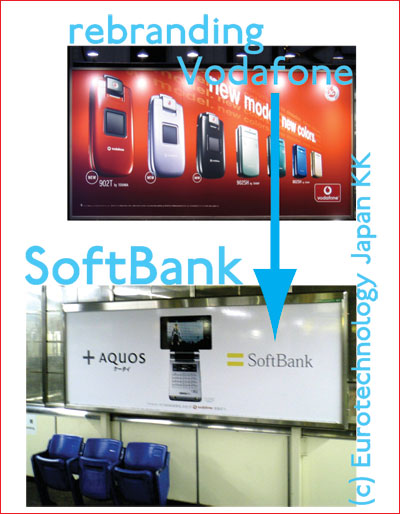 Rebranding from Vodafone to SoftBank after SoftBank acquired Vodafone Japan