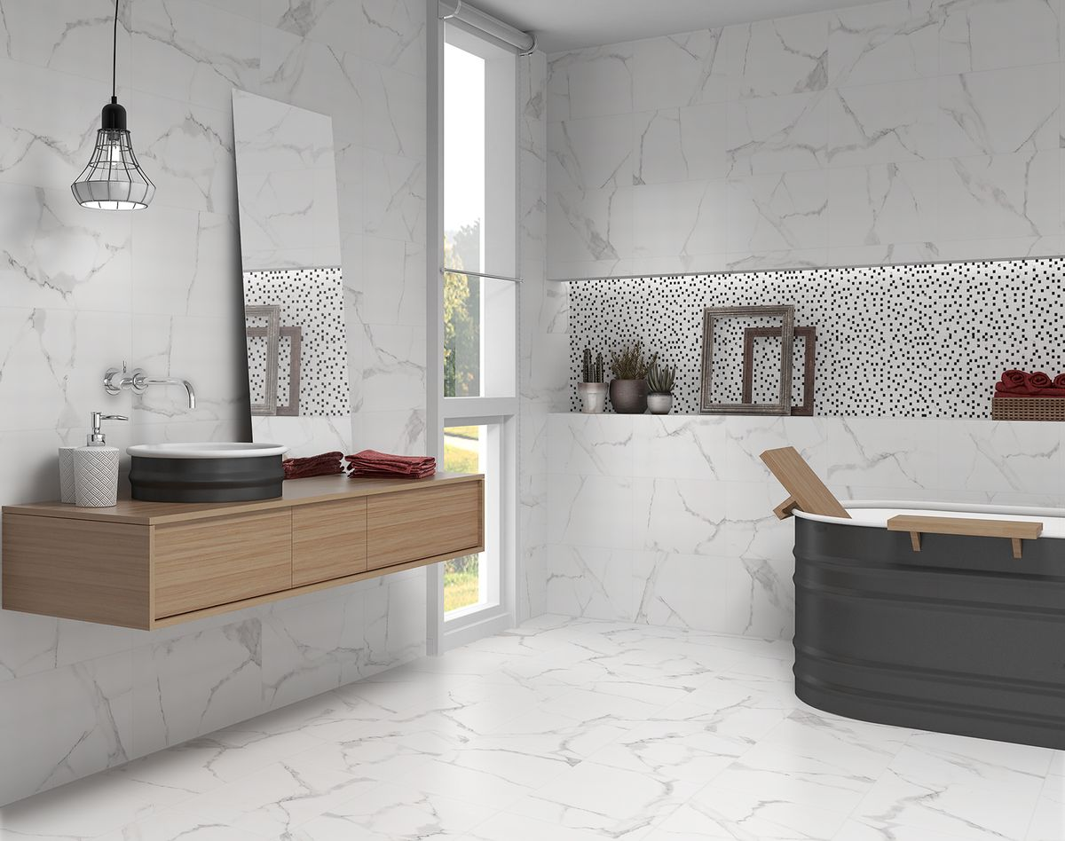 palace polished carrara marble effect wall tiles 30x60cm with wave decor