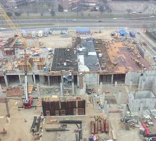 Downtown Detroit half-built jail site construction halted and now Dan Gilbert plans $500 million construction project that includes retail, parking, and housing.