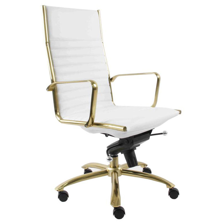 office chair gold chrome dining chairs with arms dirk white high back by euro style eurway