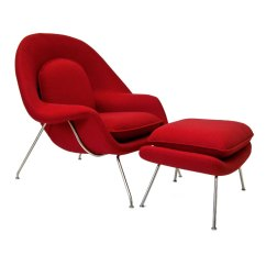Red Lounge Chair Tufted Wingback Dining Icon Modern Ottoman Eurway