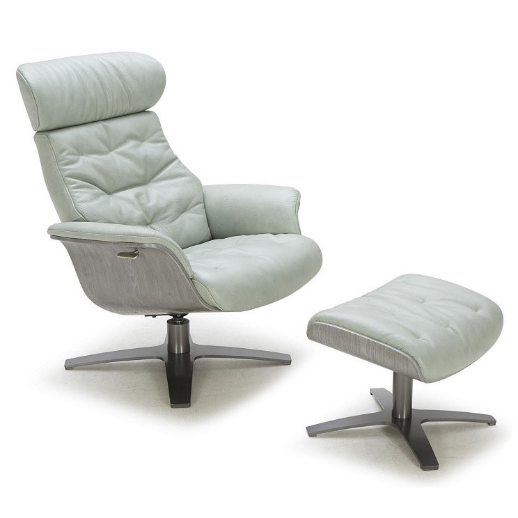 office chair ottoman buy white covers bulk keller mint green leather lounge eurway