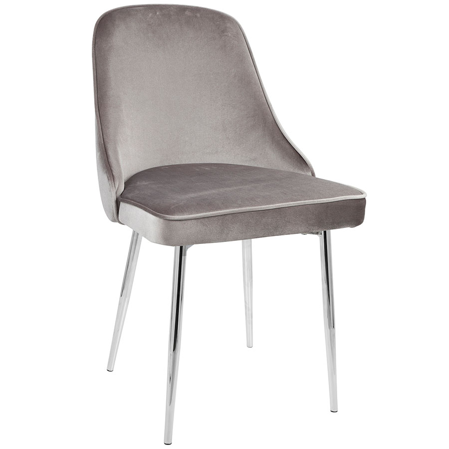gray side chair twin pull out sleeper modern chairs malta silver chrome dining eurway
