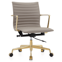 Office Chair Gold For Sciatica Marquis Gray Leather Modern Eurway