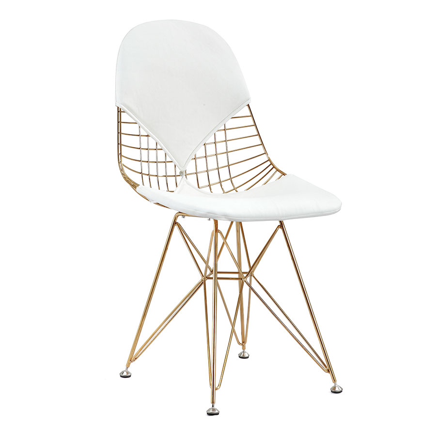 white and gold chair wrought iron chairs mildred modern side eurway