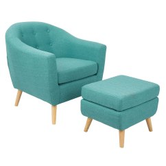 Tufted Chair And Ottoman Wing Chairs Slipcovers Radbury Teal Modern Eurway