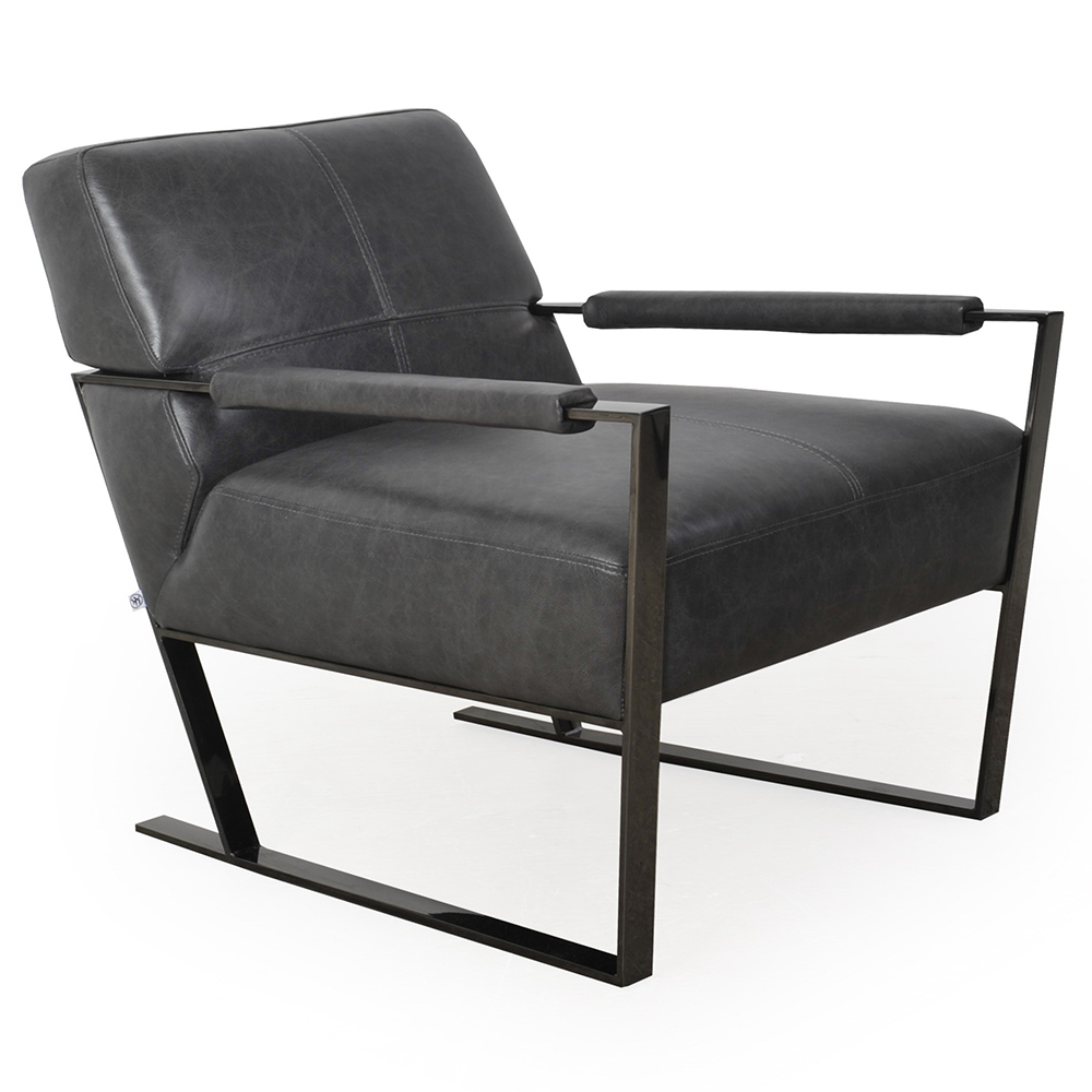 genuine leather chair clear modern chairs universe charcoal eurway furniture