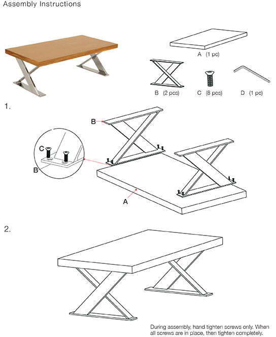 Coffee Table Assembly Instructions Plans Free PDF Download