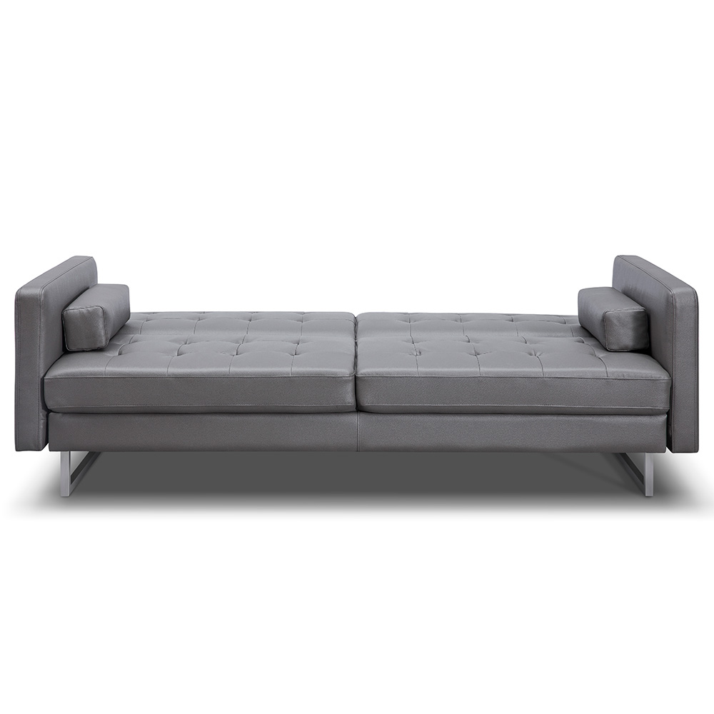 Giovanni Gray Faux Leather Sofa Bed Whiteline Eurway