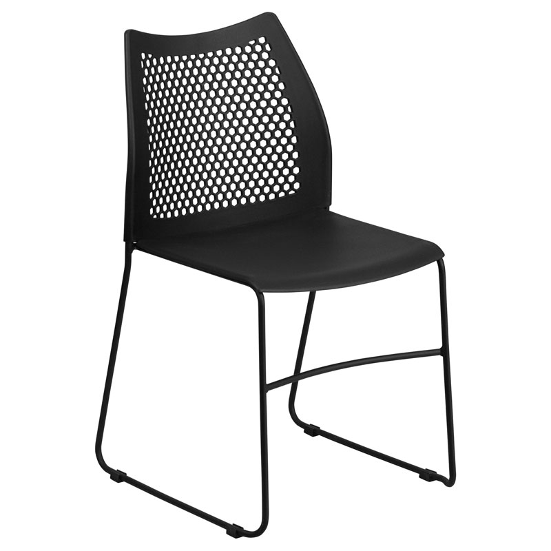 Hanna Black Modern Stacking Guest Chair Eurway