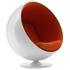 Modern Ball Lounge Chair Patio Beach Chairs Linz Mid Century White Orange Eurway Call To Order