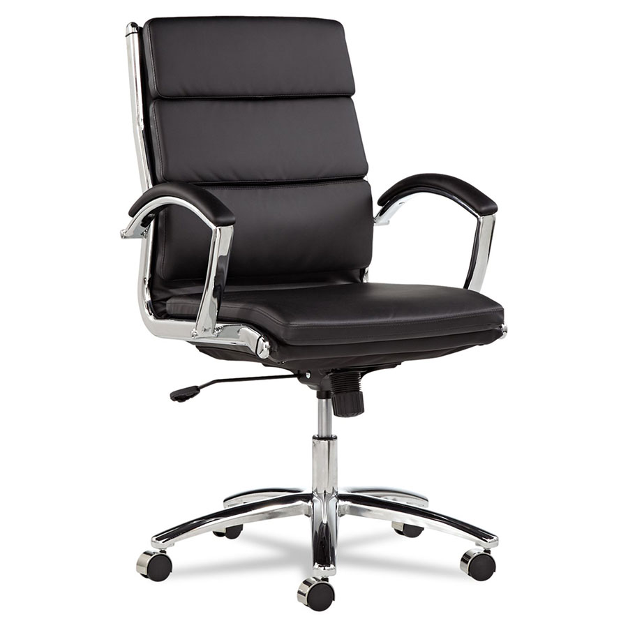 mid back office chair black Napoli Black Modern Mid Back Office Chair | Eurway