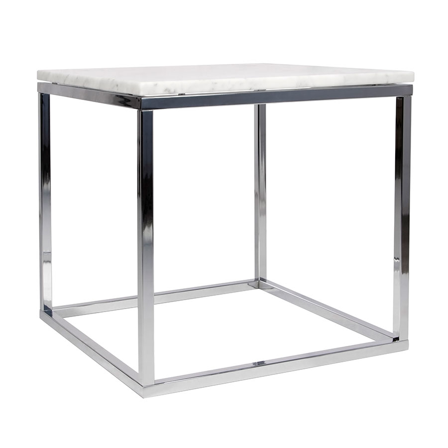 Prairie White/Chrome Marble End Table by TemaHome