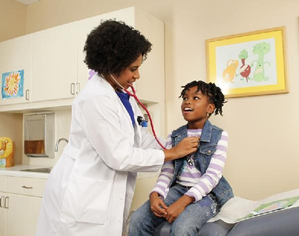 Dr. Aletha Maybank examines patient