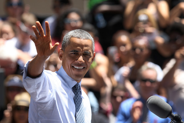 President Barack Obama waves as he steps to the podium to deliver remarks on the economy at Los Angeles Trade-Technical College on July 24, 2014 in Los Angeles, California. The president is wrapping up a three-day fund raising trip to three West Coast cities, which began with a stop at a Democratic National Committee fundraiser in Seattle, Washington.