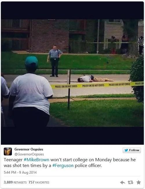 mike brown lying dead tweet-pic