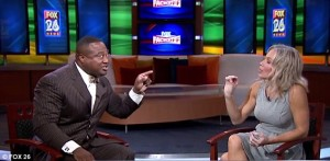 Quannell X debates Angela Box on Houston's Fox 26