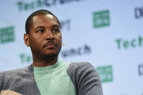 Co-founder of Melo7 Tech Partners Carmelo Anthony speaks onstage during TechCrunch Disrupt NY 2016 at Brooklyn Cruise Terminal on May 11, 2016 in New York City.