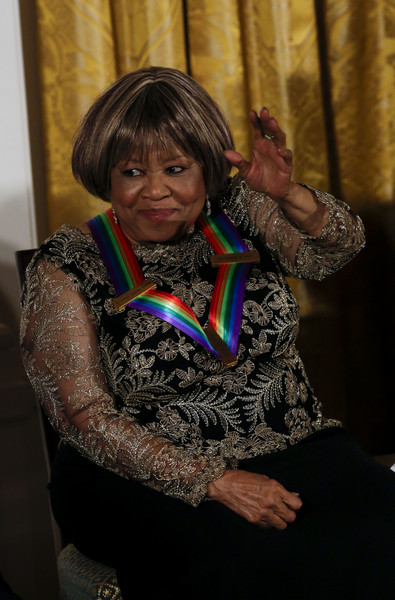Singer Mavis Staples, a 2016 Kennedy Center honoree, waves after being congratulated by President Barack Obama during a ceremony for the 2016 Kennedy Center honorees December 4, 2016 in the East Room of the White House in Washington, DC.