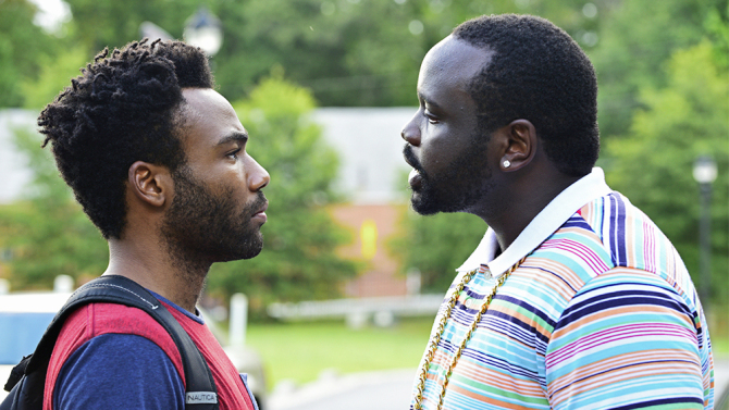 "ATLANTA -- ""Pilot"" -- Pictured: (l-r) Donald Glover as Earnest Marks, Brian Tyree Henry as Alfred Miles."