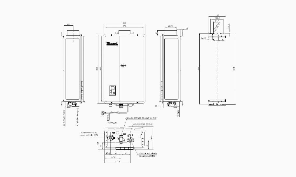 Calefón a Gas Rinnai Rar-E330 Digital